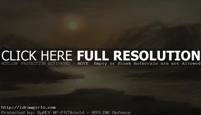 rough painting sunset Basic digital painting tutorial water