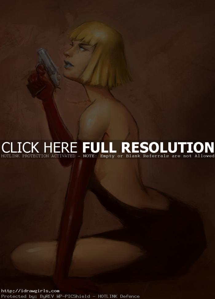 spy woman character sketch Basic digital painting spy woman