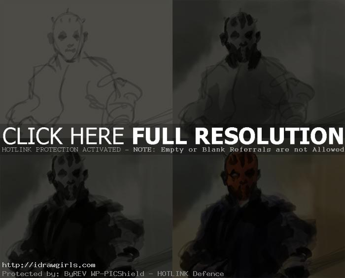 digital painting tutorial Darth Maul step1