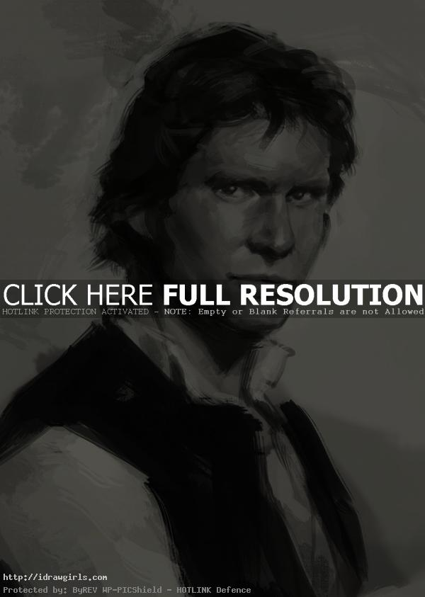 How to draw portrait Han Solo