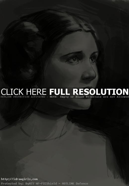 How to draw portrait princess Leia