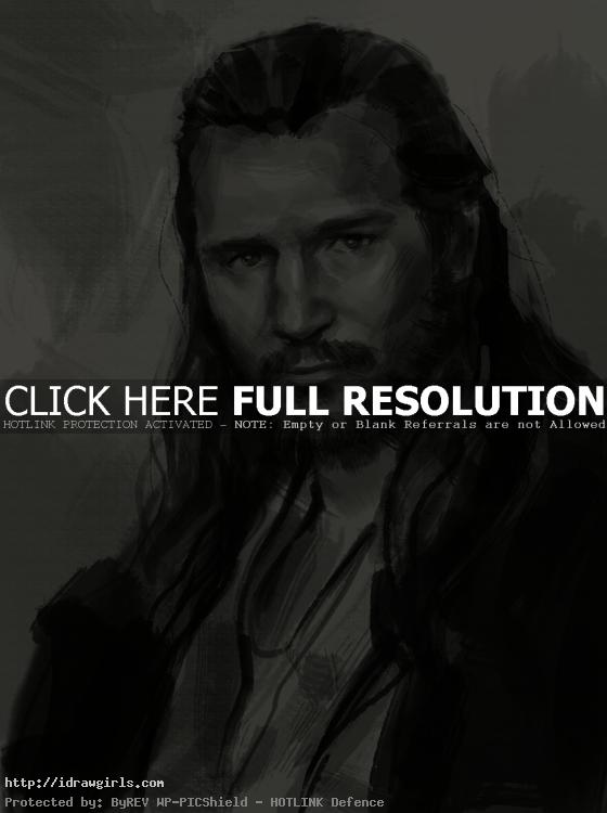 draw portrait qui gon jinn How to draw portrait Qui Gon Jinn