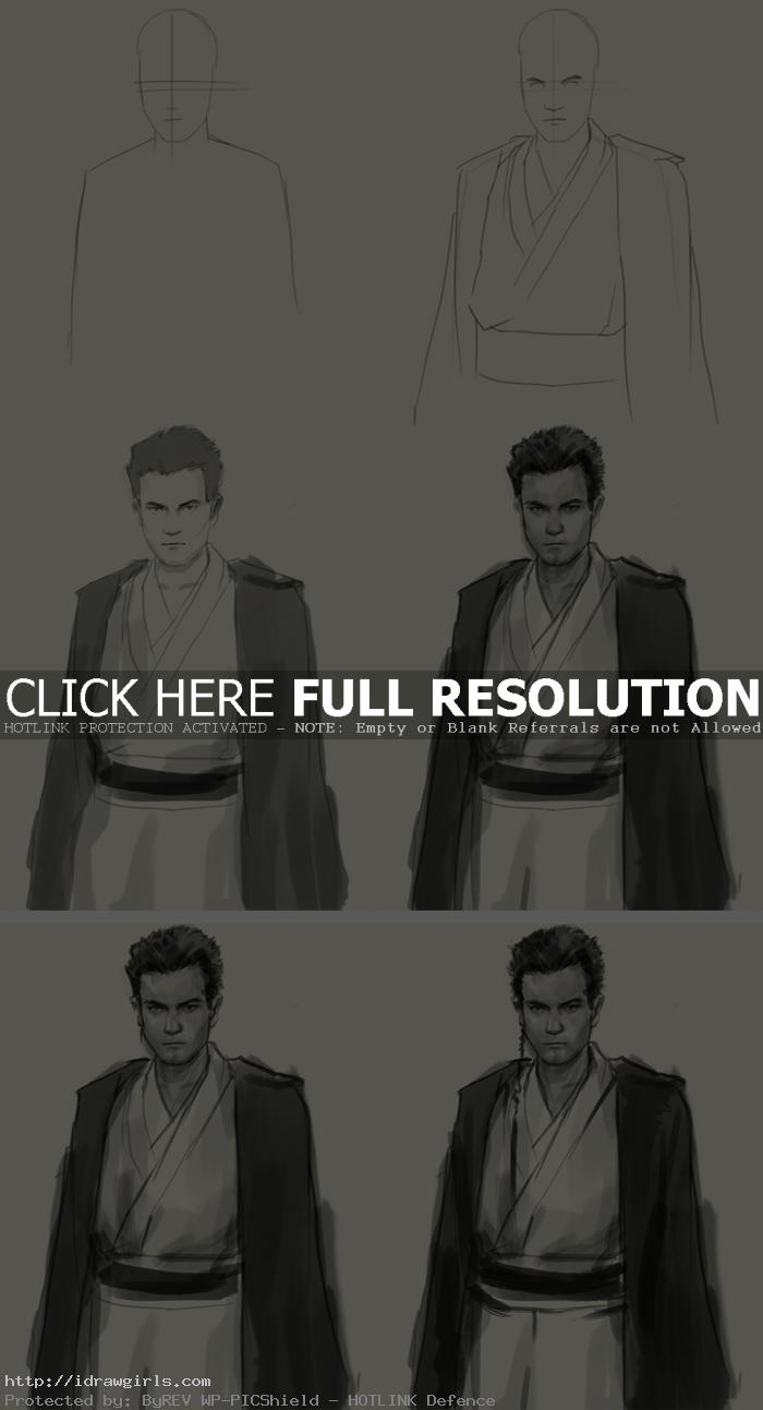 how to draw obi wan kenobi How to draw Obi Wan Kenobi