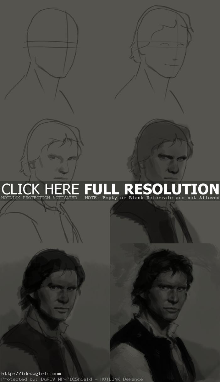 how to draw portrait han solo How to draw portrait Han Solo