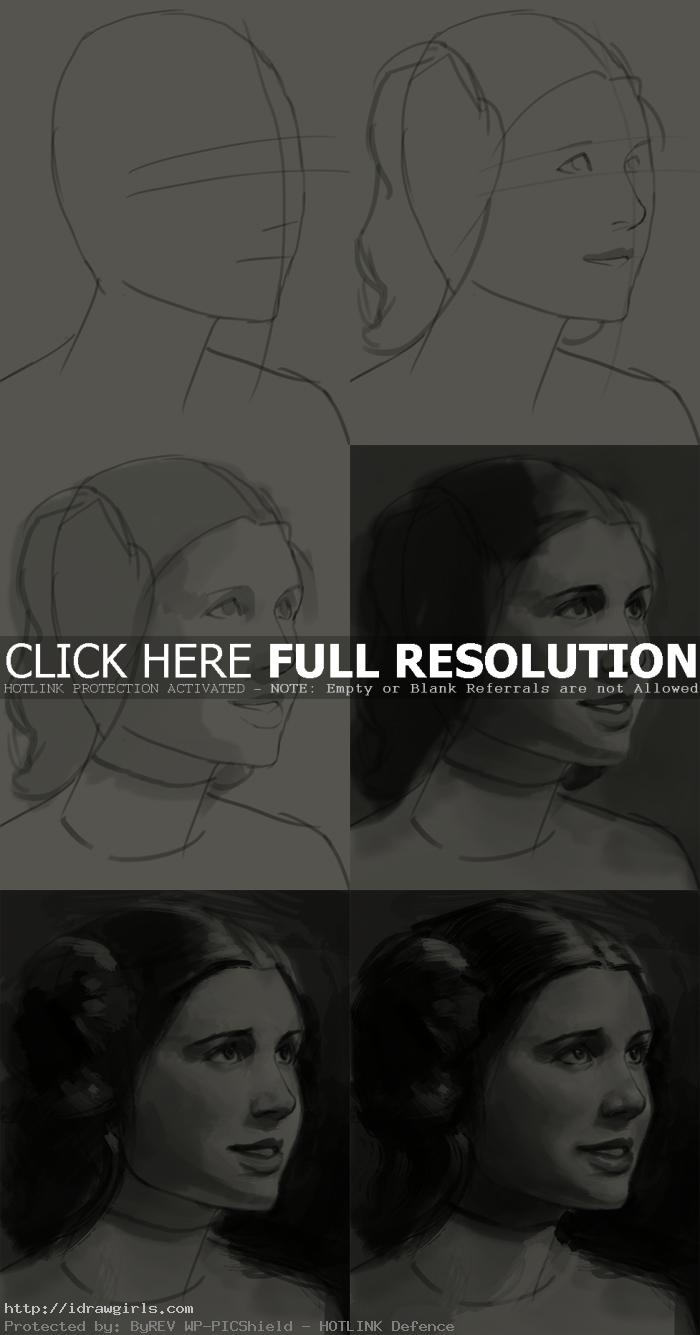 how to draw portrait princess leia How to draw portrait princess Leia