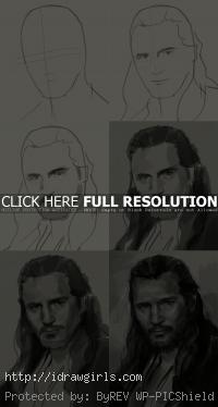How to draw portrait Qui-Gon Jinn