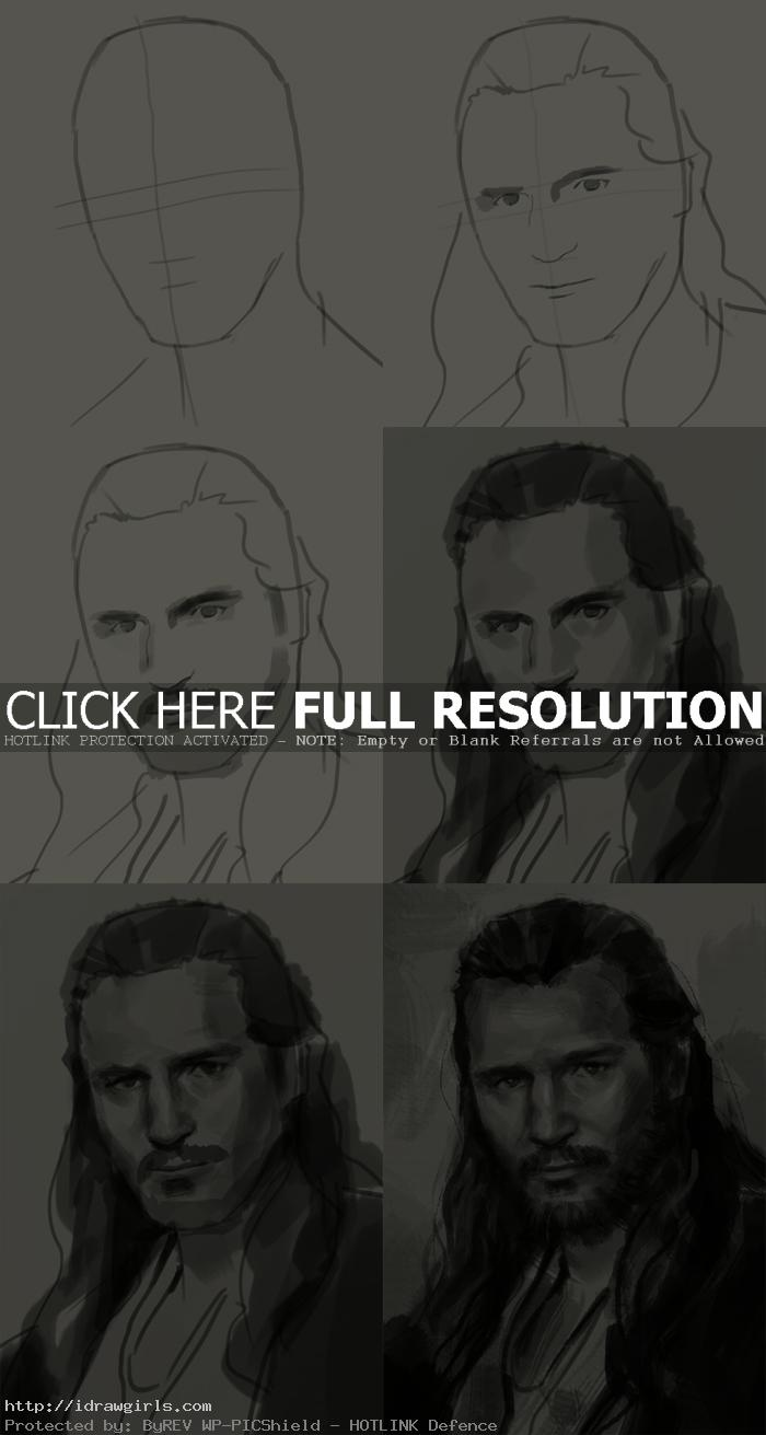 how to draw portrait qui gon jinn How to draw portrait Qui Gon Jinn