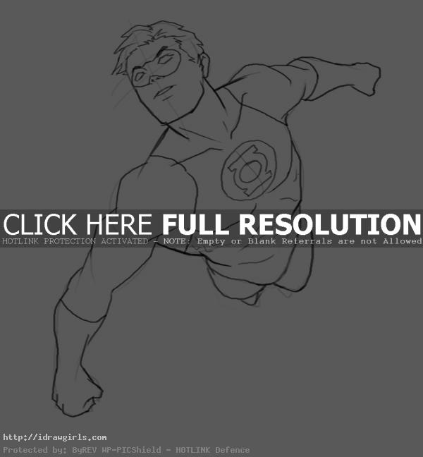How to draw Green Lantern flying