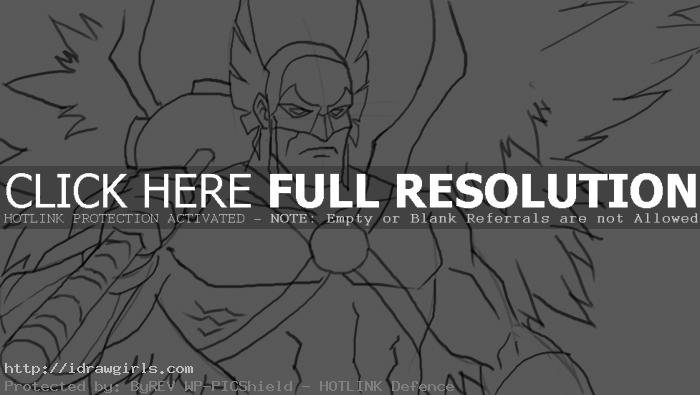 How to draw Hawkman