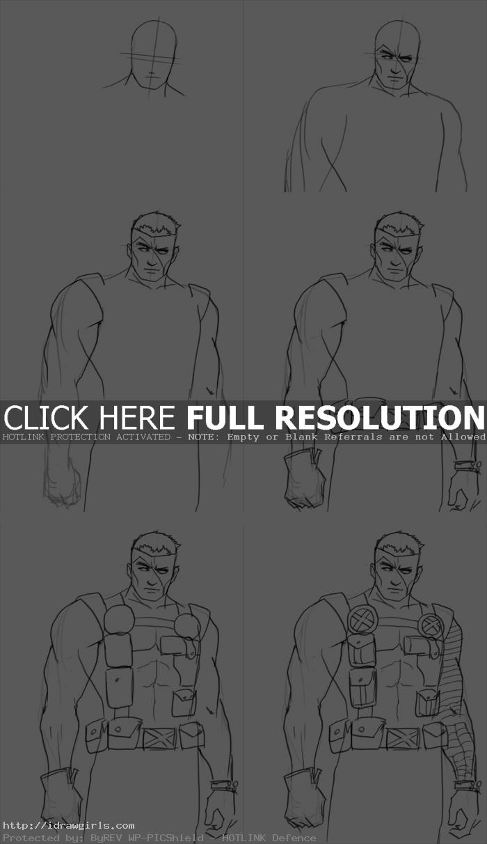 how to draw Cable from X-men