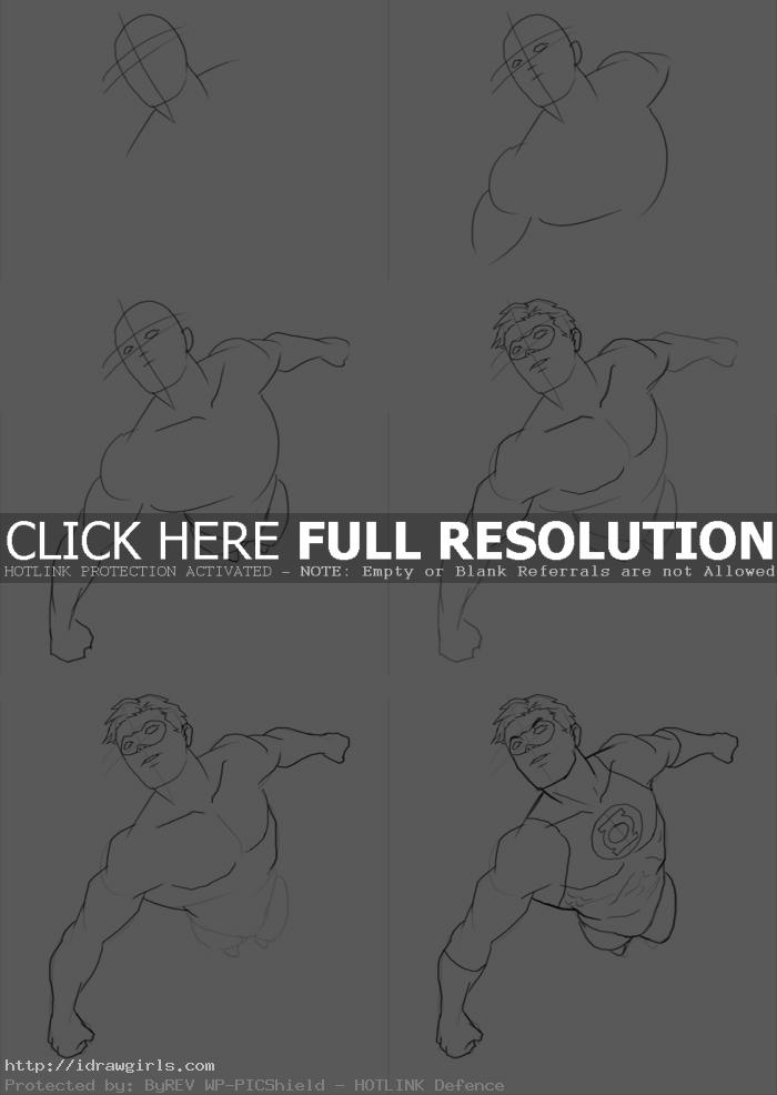 how to draw green lantern How to draw Green Lantern flying