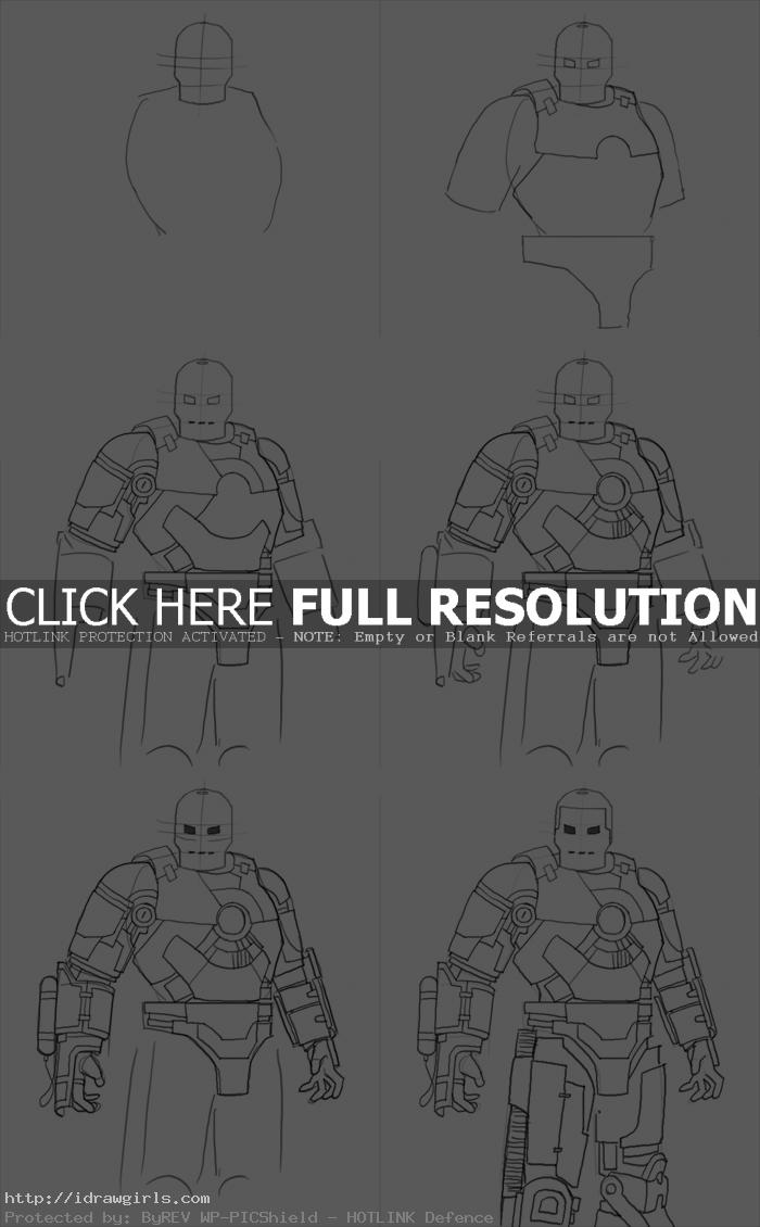 how to draw Iron Man Mark I