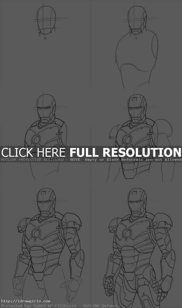 how to draw Iron Man Mark II