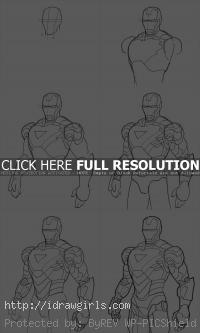 how to draw Iron Man Mk6