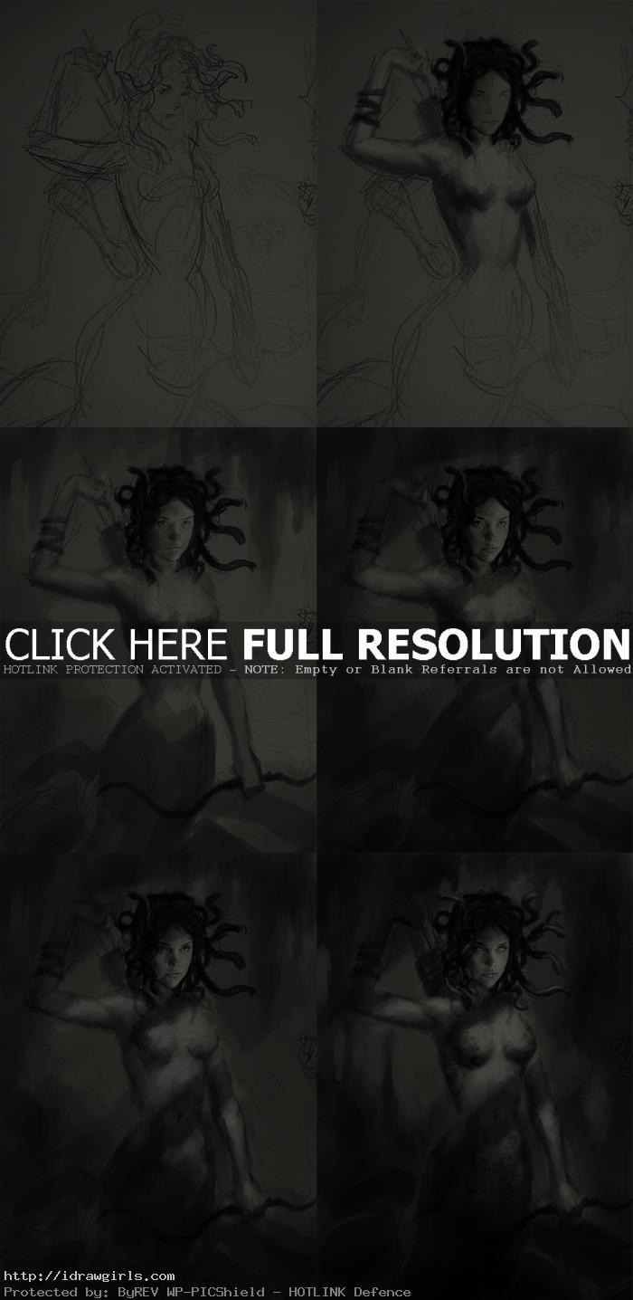 concept art process tutorial Medusa sketch