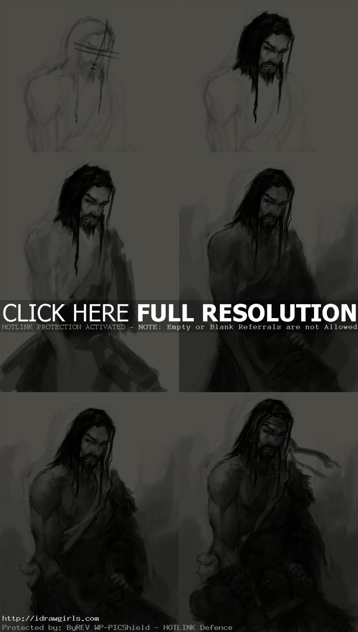 Concept Art tutorial drawing character Qigong