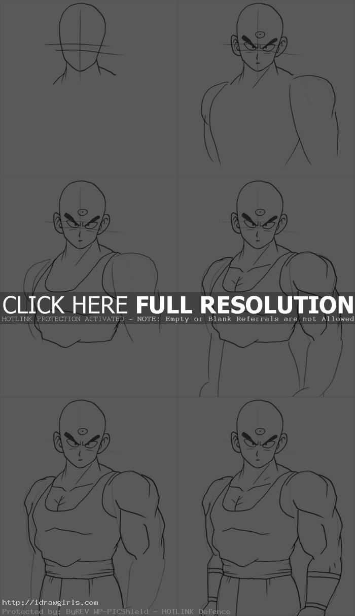 how to draw tien shinhan How to draw Tien Shinhan