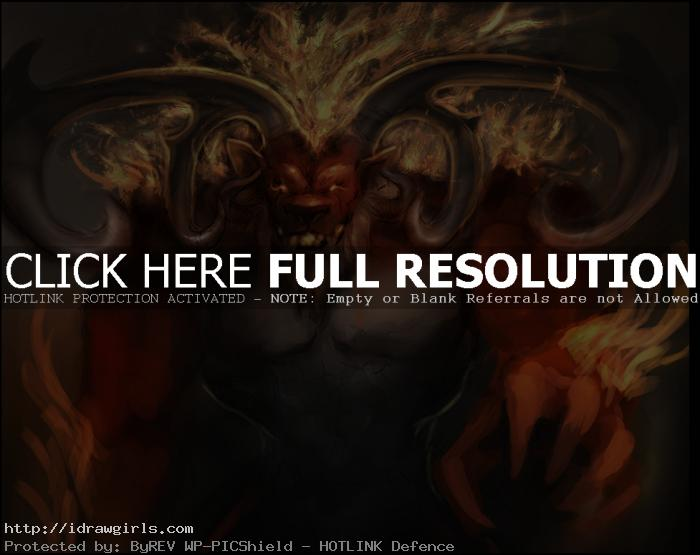 ifrit wip Photoshop digital painting process Ifrit