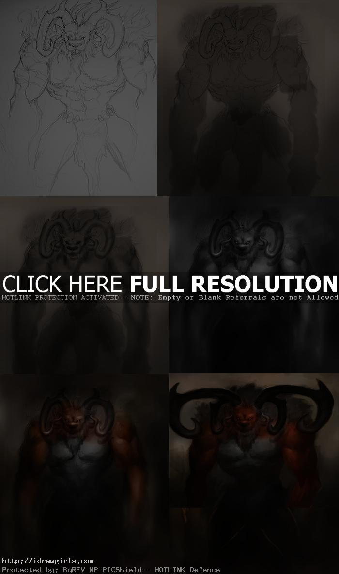 photoshop painting tutorial creatures ifrit Photoshop digital painting process Ifrit