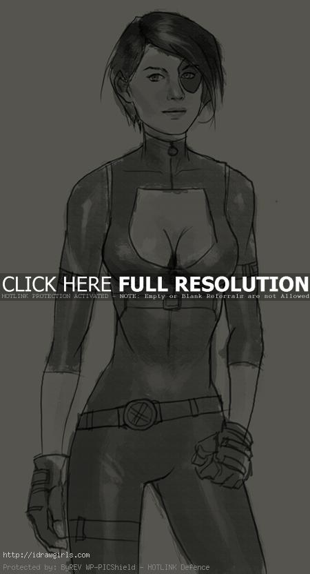 domino x men How to draw Domino