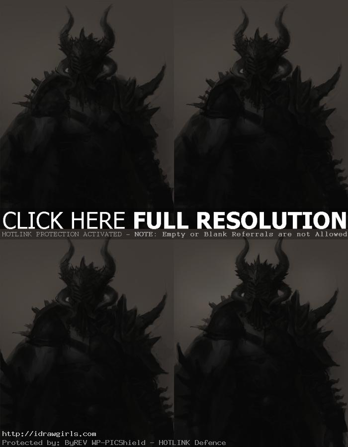 character design process monochrome Warrior in armor character design tutorial