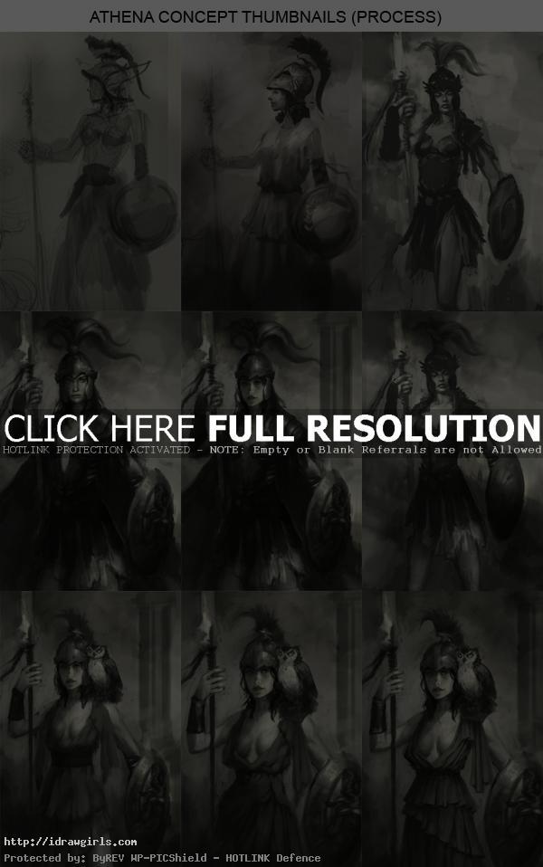 Thumbnails for character concept art Athena