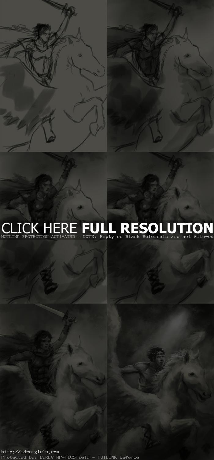 BW concept art tutorial Perseus and Pegasus