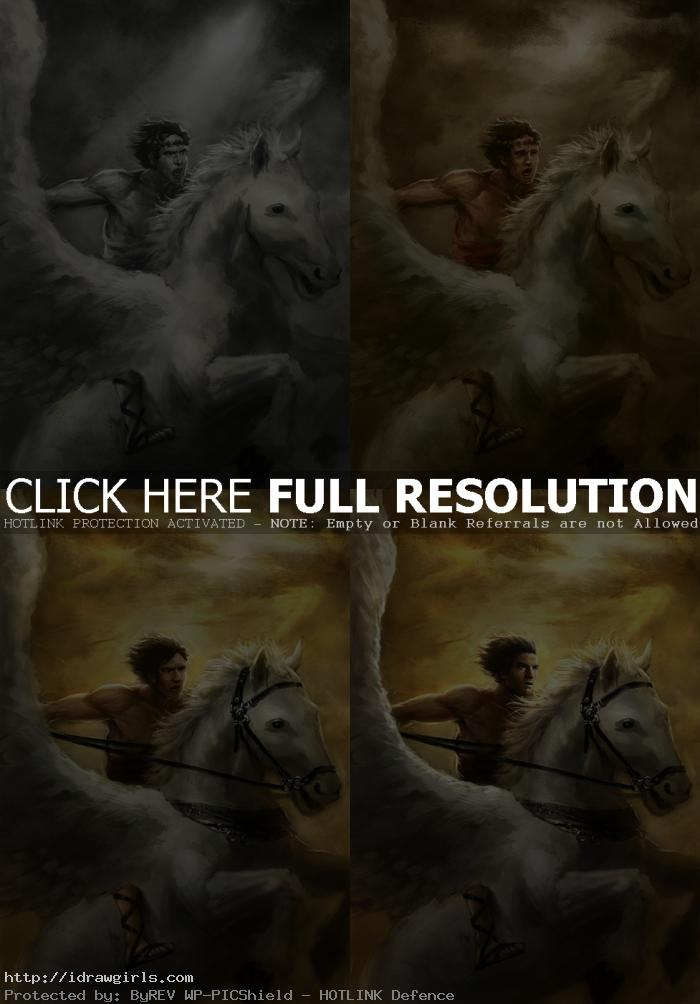 digital art tutorial Perseus and Pegasus