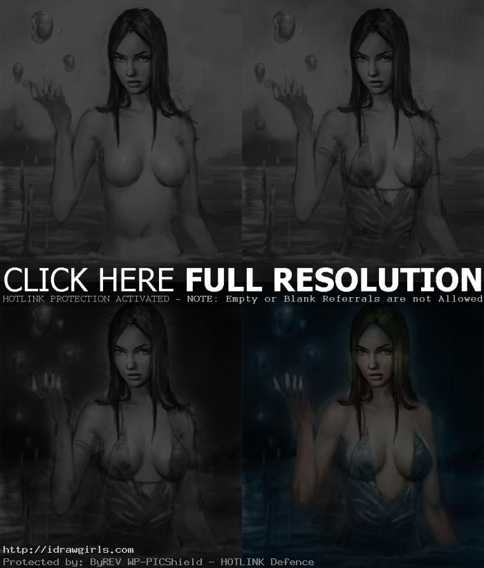 digital painting process for character Aphrodite
