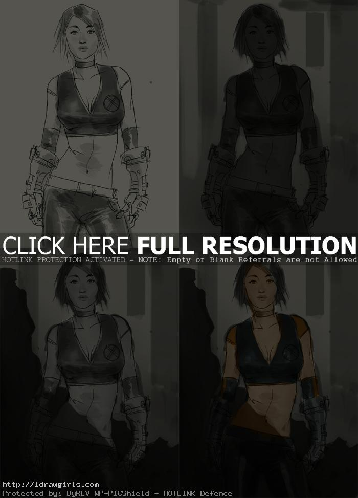 digital painting tutorial x men character part1 Photoshop painting tips using light and shadow on character demo