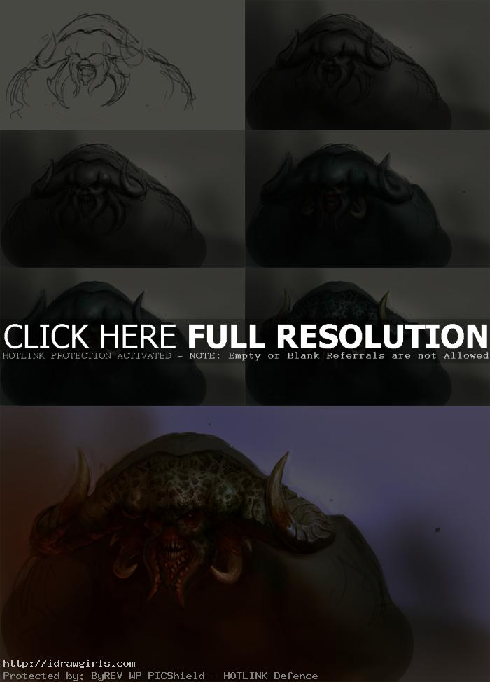 Demon creature portrait concept art step by step