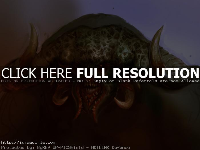 creature portrait concept art Demon creature portrait concept art step by step