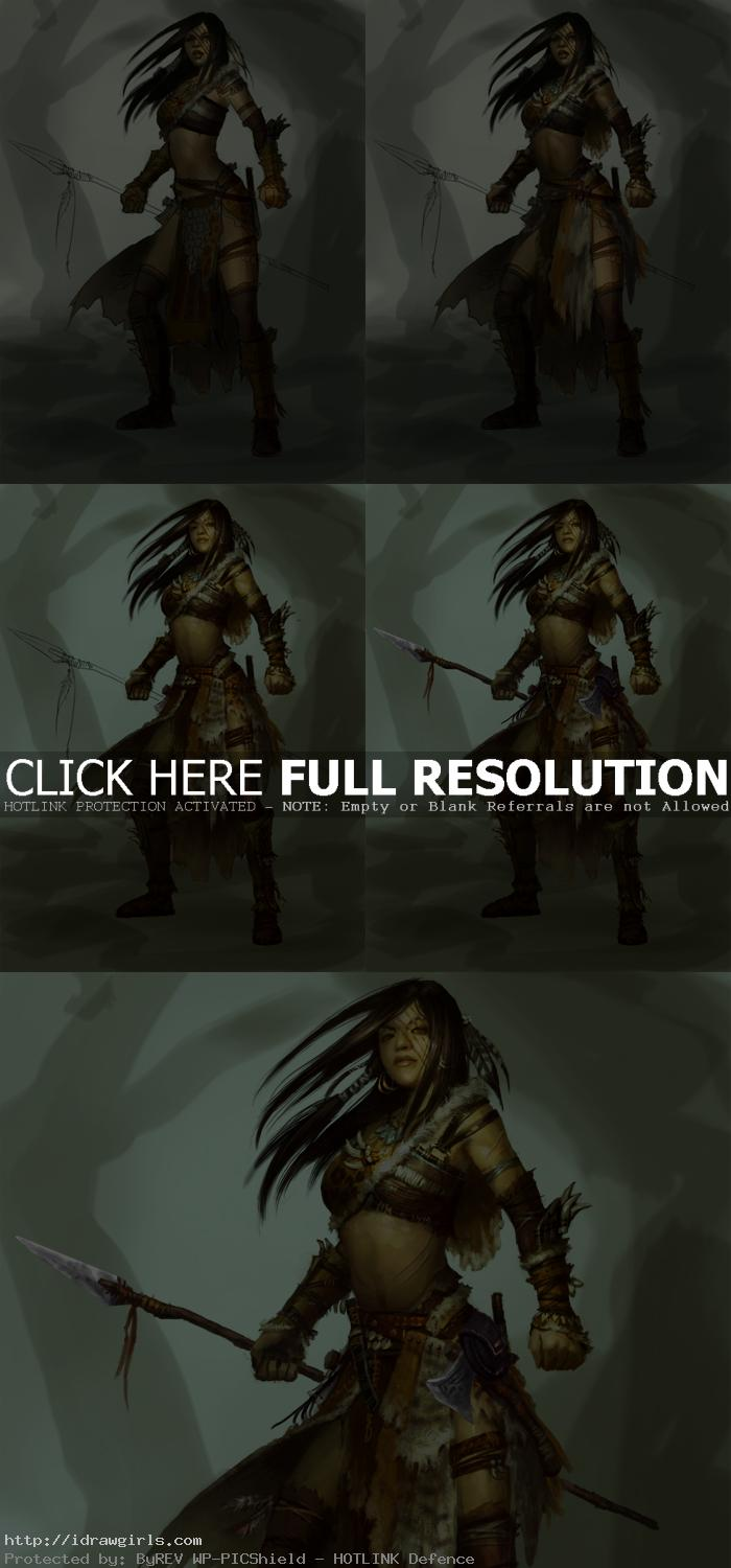 digital painting tutorial female hunter chief Digital painting tutorial female hunter chief