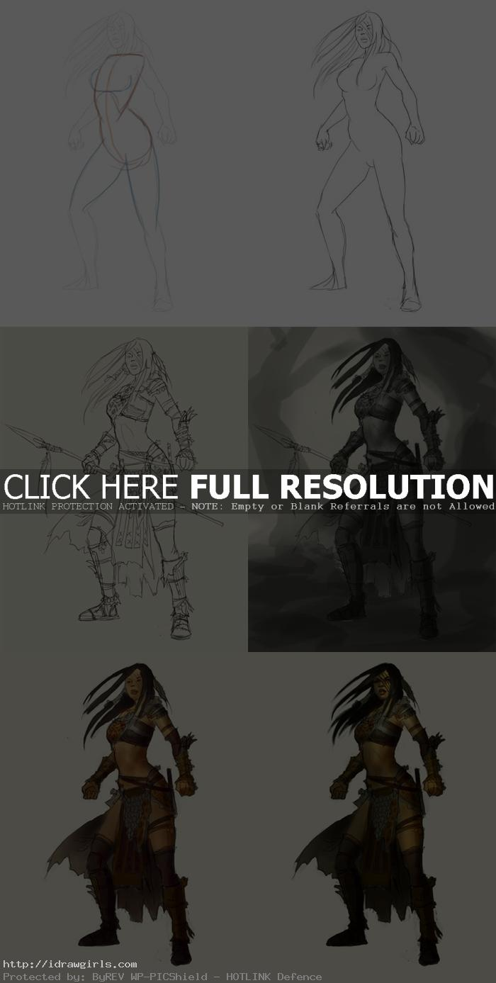 how to draw female hunter chief
