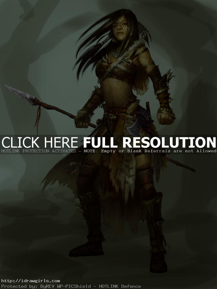 Digital painting tutorial female hunter chief