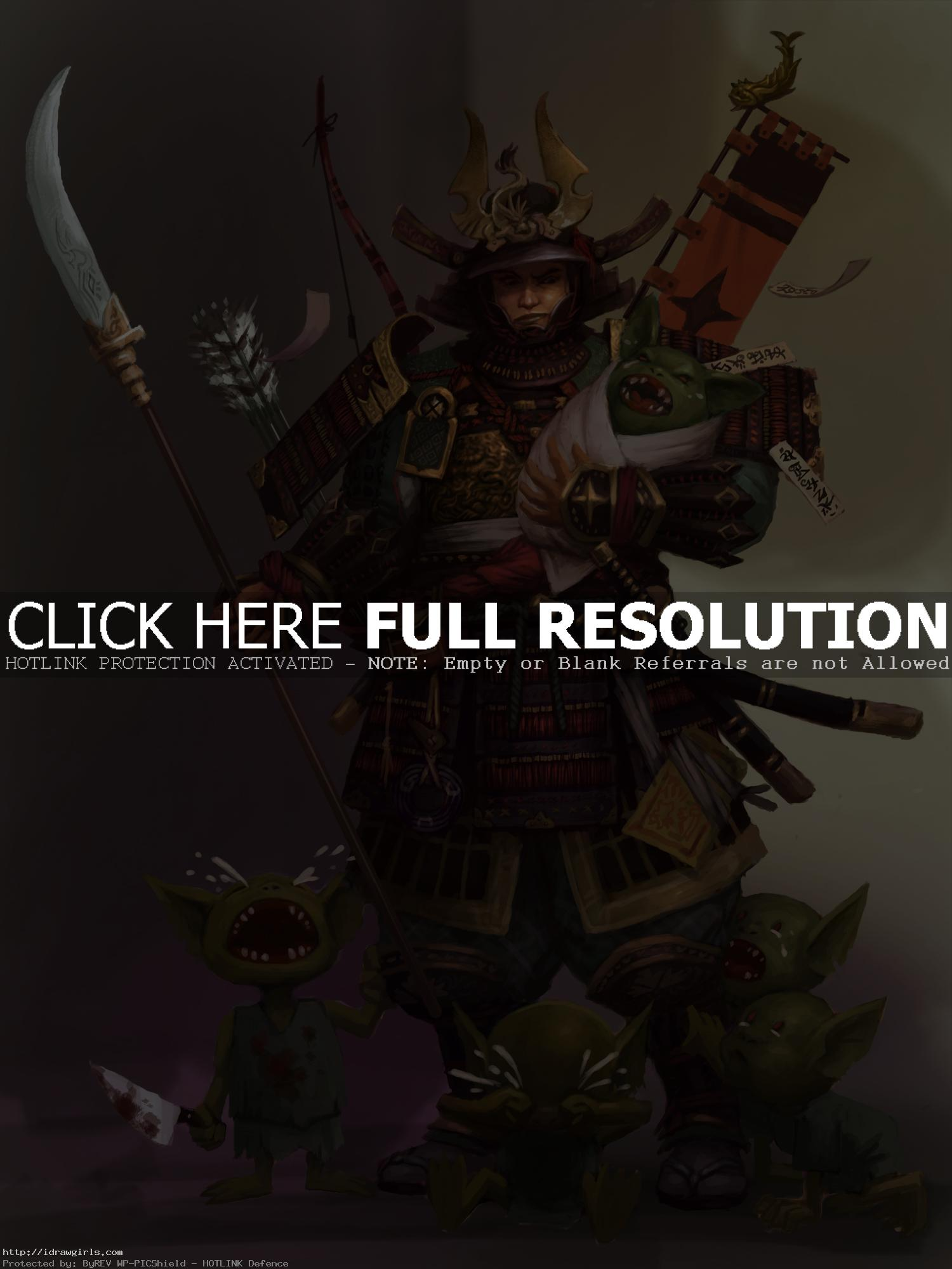 samurai gen concept art Photoshop digital painting tutorial Samurai character