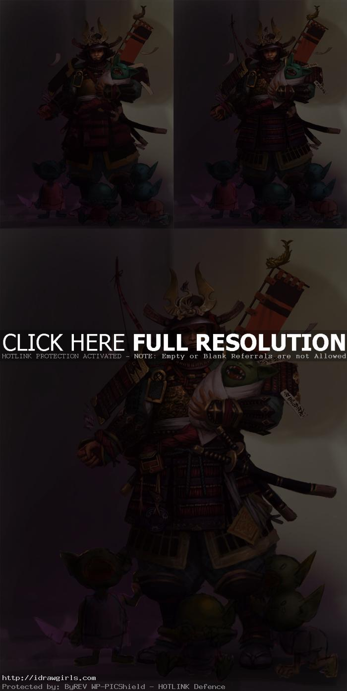 samurai painting step by step Photoshop digital painting tutorial Samurai character