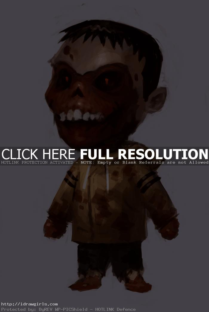 kid zombie character concept art How to paint kid zombie