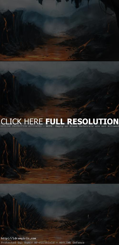 hidden lava creature concept art tutorial Hidden lava serpent environmental concept tutorial