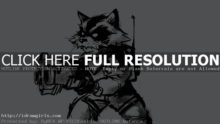 How to draw Rocket Raccoon