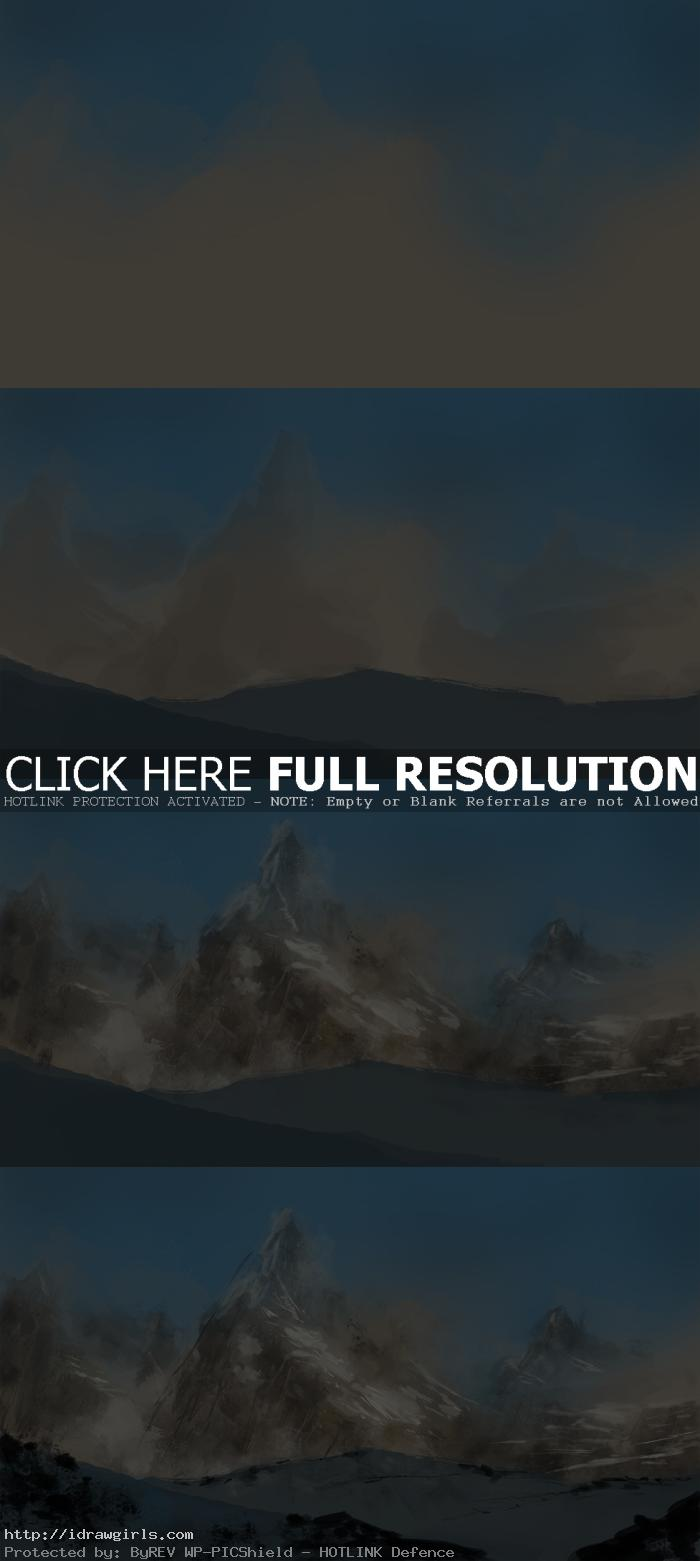 How to paint snow mountain digital painting tutorial