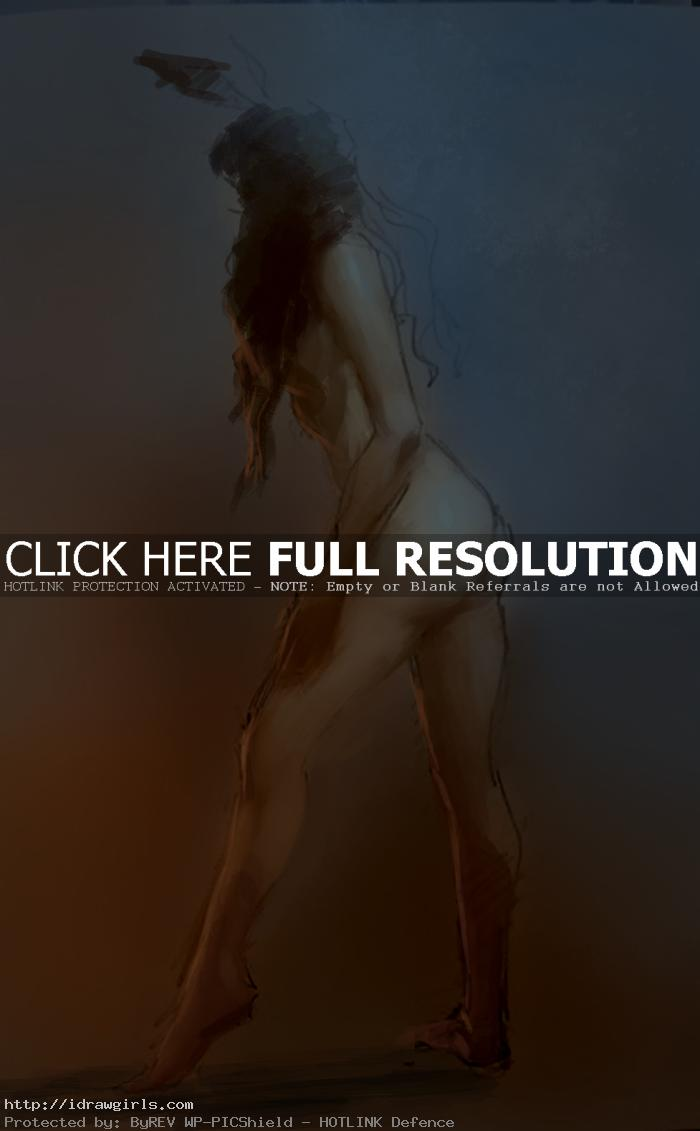 Painting over a gesture drawing Jan 2014