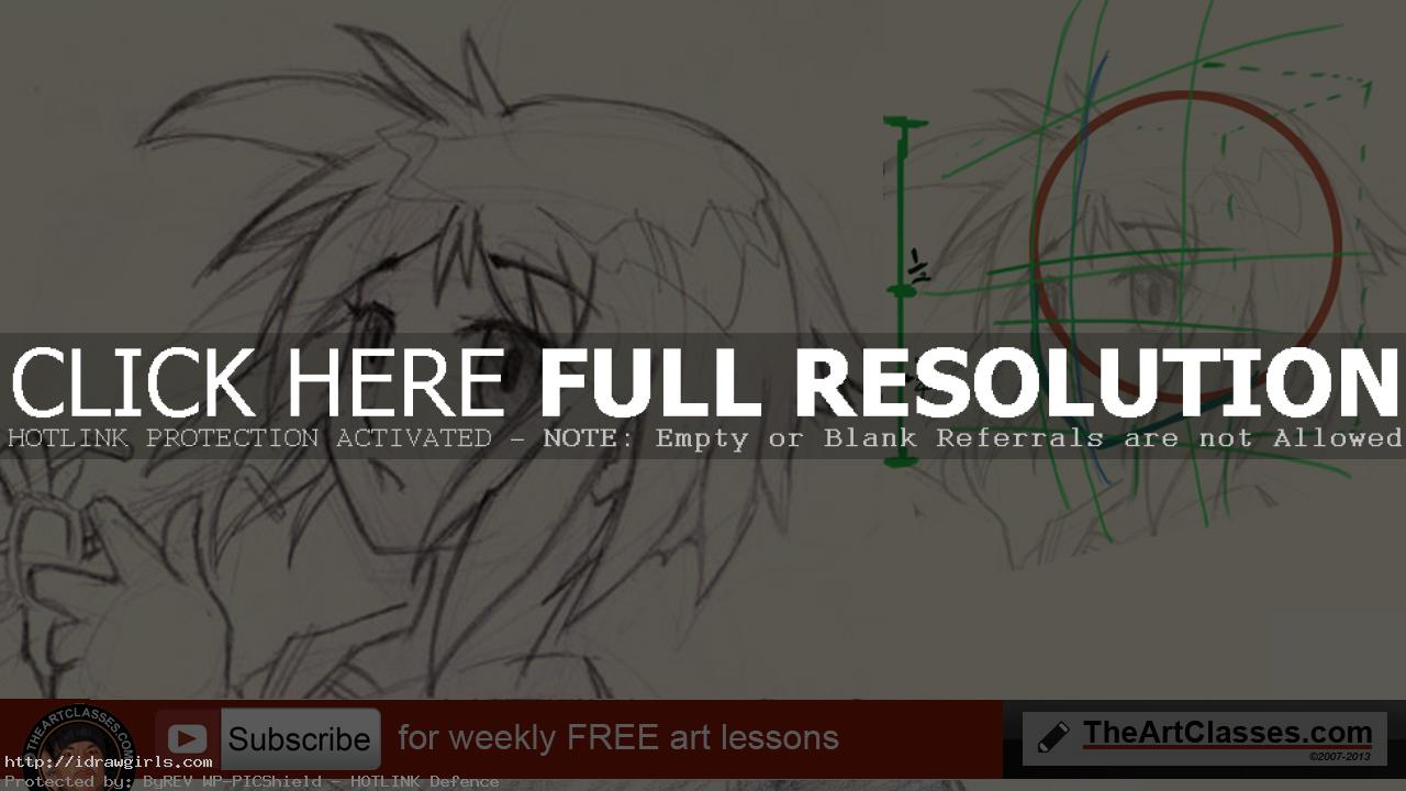 drawing Anime girl face proportion and structure tutorial