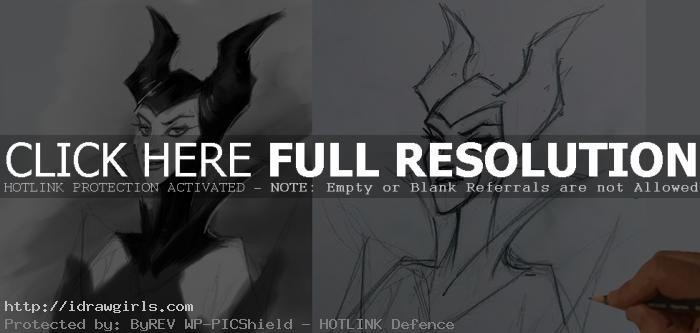 drawing maleficent tutorial How to draw Maleficent