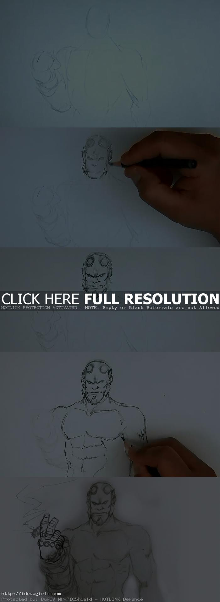 how to draw hellboy How to draw Hellboy