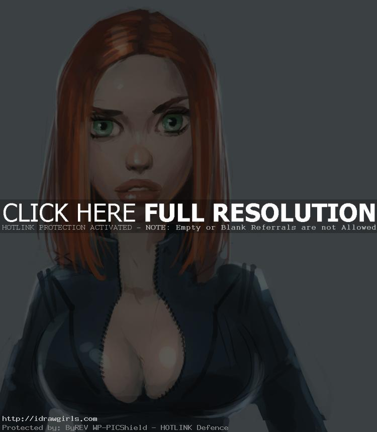 How to draw portrait and character Black Widow