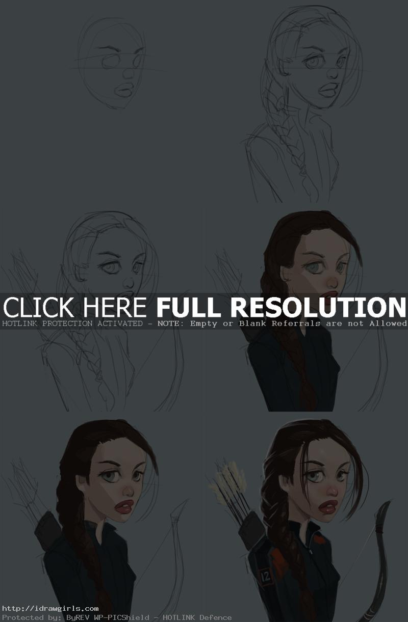 how to draw Katniss Everdeen Disney style