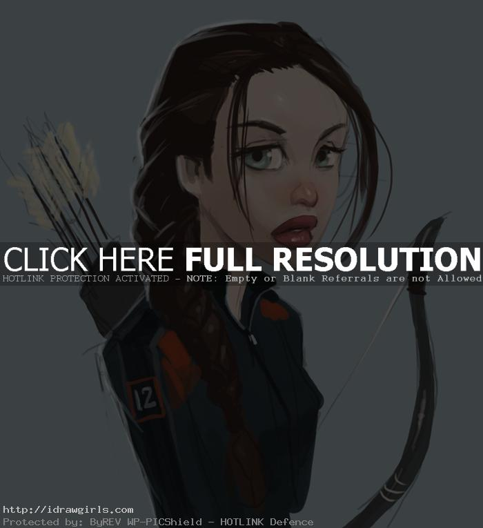 How to draw Katniss Everdeen cartoon style
