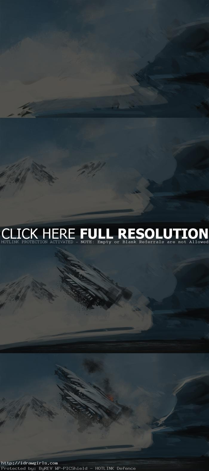 digital painting process ufo crashes Digital painting process UFO crashes step by step
