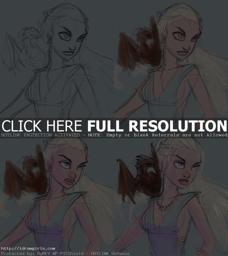 how to draw danerys game of thrones Drawing portrait and character tutorial Daenerys